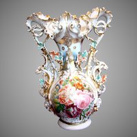 "French Old Paris 17"" Ornate Display Vase Hand Painted Roses Ram or Goat Heads on Sides w Porcelain Leaves c 1870"