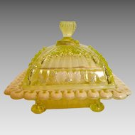 American Northwood EAPG Covered Butter Opalescent Vaseline Canary Glass w Enameled Decoration c 1897