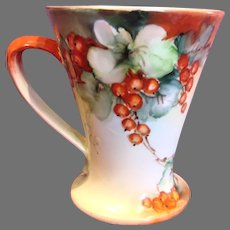 Austrian Vienna Hand Painted Cider Mug Red Currants Artist Signed c 1890 - 1910