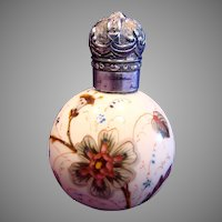 American Mt. Washington Crown Milano Opal Art Glass Scent Perfume Bottle Hand Painted Orchids Leaves Sterling Silver Stopper c 1890