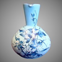 French Light Blue Art Glass Pitcher Jug w Hand Painted Blue Flowers Leaves c 1885
