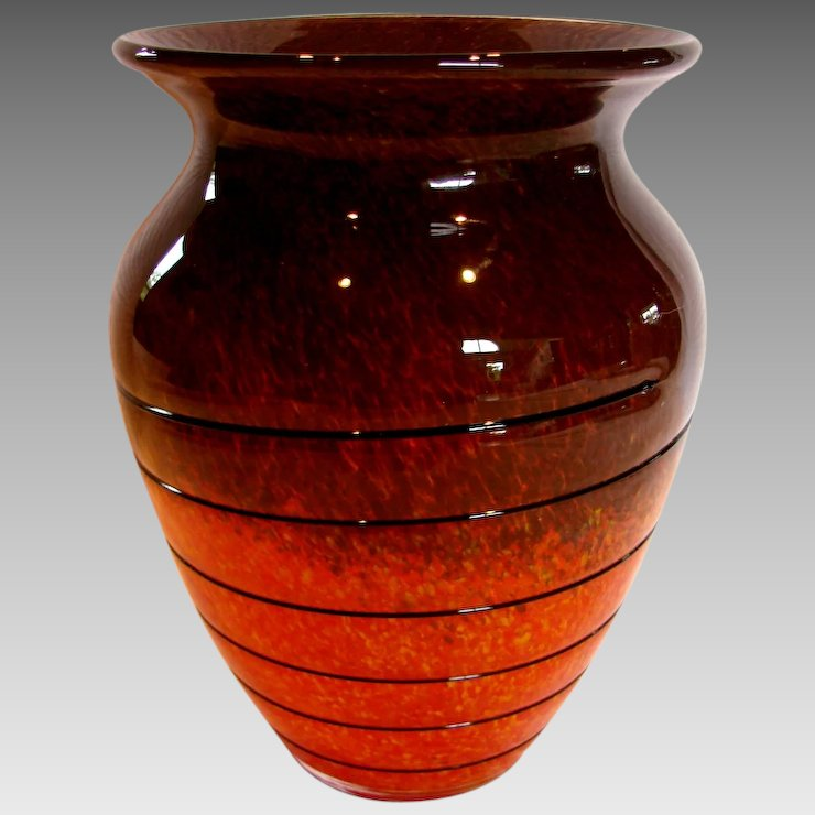 Bohemian Czech Art Glass Vase Orange Yellow Brown W Black Glass