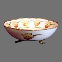 French Limoges Footed Bowl Noted Limoges Artist Baumy Tulips c 1900-1910