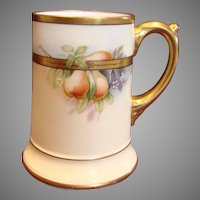 French Limoges Mug Hand Painted Pears Artist Signed c 1891 - 1905