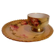 German Meissen Listed American Master Artist Franz Aulich Tea Toast Pedestal Cup Saucer Pink Roses c 1900