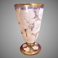 Bohemian Art Glass Clear Glass Tumbler Goblet w White Coralene Grape Leaves c 1890