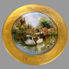 French Haviland Limoges Plate Pickard Artist Frederick Kriesche Exceptional Gold Painted Scene of Swans Birds on Water c 1898 - 1910