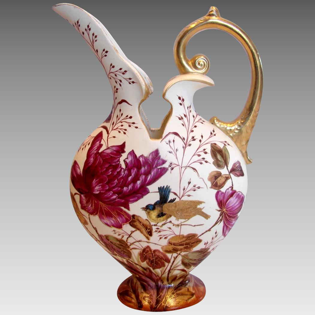 German earthenware 12 ewer vase hand painted purple flowers song click to expand reviewsmspy