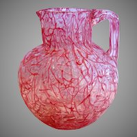 Bohemian Czech Harrach Kralik Art Glass Pitcher Vase Pink Red Threads on Clear Peloton c 1885