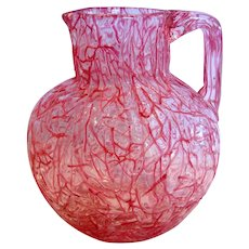 Bohemian Harrach Kralik Art Glass Pitcher Vase Pink Red Threads on Clear Peloton c 1885