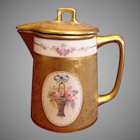 Japanese Noritake Lidded Milk Pitcher Demitasse Pot American Pickard Artist Anton Richter Etched Gold w Pink Rose Basket c 1919 - 1922
