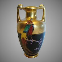 Bavarian Vase American Pickard Artist Curtis Marker Pheasant Bird on Black w Etched Gold c 1925 - 1930