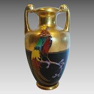 Bavarian Vase American Pickard Artist Curtis Marker Pheasant Bird on Black w Etched Gold c 1925 - 1930