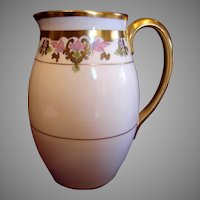 Bavarian Pickard Water Pitcher Hand Painted Pink Leaves c 1912