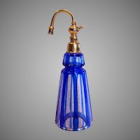 French Art Glass Cologne Perfume Scent Bottle Cobalt Blue Cut Clear w Metal Top Atomizer c 1910