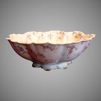 French Haviland Limoges Footed Salad Bowl Pink Flowers Blue Ribbons Schleiger 481 c 1894 to 1930