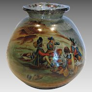 American Pairpoint Tavern or Potato Art Glass Vase Hand Painted Milady c 1920s