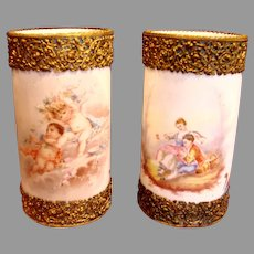 French Limoges Pair Vases Artist Signed Luc Figural Scenes Blue Ground Metal Ormolu Mountings c 1900
