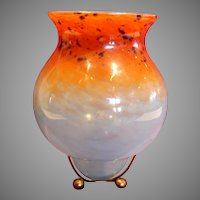 "Scottish Monart Art Glass Vase 9.75"" on Metal Stand Blue Orange c 1920s"