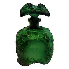 Bohemian Schlevogt Ingrid Green Art Glass Scent Perfume Bottle (Cologne) w Roses c 1935
