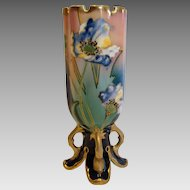 Bohemian Czech Carl Knoll Footed Pottery Vase w Cobalt & Flowers c 1916 - 1918