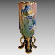 Bohemian Czech Carl Knoll Footed Pottery Vase w Cobalt & Flowers c 1916 - 1918