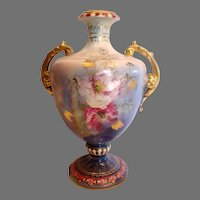 """German Royal Bonn Mehlem 10.5"""" Vase Hand Painted Pink Poppies Unique Blue Lustre Glaze c 1900"""