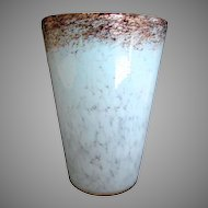 "Scottish Monart Art Glass 9"" Wide Vase Clear w White & Copper Mica c 1920s"