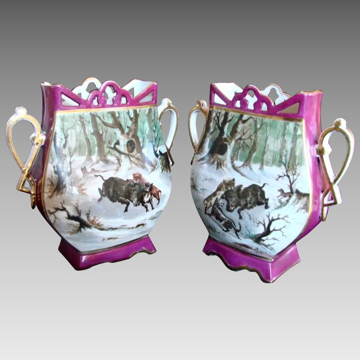 German Pair Vases Hand Painted Winter Hunt Scene W Dogs And Wild