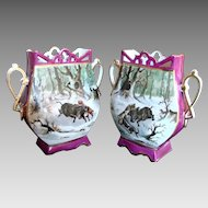 German Pair Vases Hand Painted Winter Hunt Scene w Dogs and Wild Boar c 1890