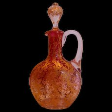 Bohemian Muhlhaus Rubena (Rubina) Art Glass Cruet with Ornate Gold Clear-to-Red Cranberry c 1890