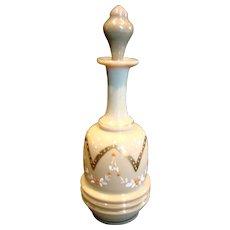 American Art Glass Barber Bottle w Stopper Opaque Brown-Green Enameled Flowers c 1880