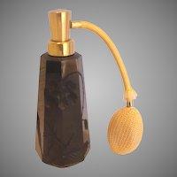 Bohemian Czech Deep Carved Black Art Glass Scent Perfume Bottle (Cologne) c 1940