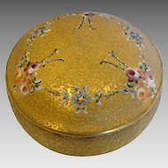 American DeVilbiss Art Glass Vanity Box Gold Encrusted Enameled Roses c 1925