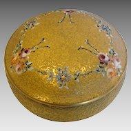 American DeVilbiss Art Glass Vanity Box Gold Encrusted Enameled Roses c 1925