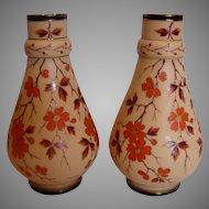 """Bohemian Poschinger Pair 10"""" Brown Art Glass Vases Hand Enameled Orange Blossoms Signed c 1890"""