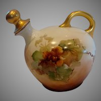 Austrian Vienna Hand Painted Porcelain Liqueur Decanter w Stopper Autumn Leaves c 1890 - 1910