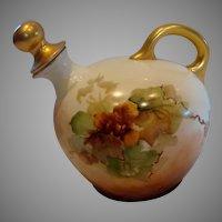Austrian Vienna Hand Painted Porcelain Liqueur Decanter w Stopper Autumn Leaves c 1890 - 1910