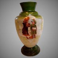 "French White Opaline Art Glass Vase 13"" Hand Painted Winter Scene Children w Small Brown Puppy Dog c 1860 - 1870"