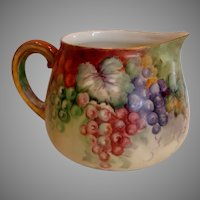 French Limoges Hand Painted Cider Pitcher Colorful Grapes c 1892 - 1907