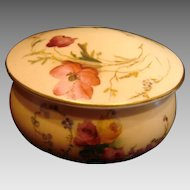 English Royal Worcester Hand Painted Small Patch Box Roses Poppies c 1907