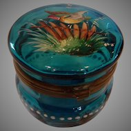 French Blue Art Glass Box with Hand Enameled Mallard Duck c 1890