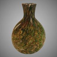 American Small Art Glass Flask Bottle Clear Inside Green White Metallic Outside c 1850