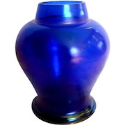 "Bohemian 6 ¾"" Blue Iridescent Art Glass Vase c 1900"