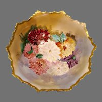 "French Limoges 10"" Footed Bowl w Artist Painted Signed Large Mums c 1900"