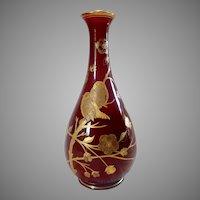 "English Webb Cased Dark Red Oxblood 13 ½"" Art Glass Vase w Gold Enameled Birds & Foliage c 1870"