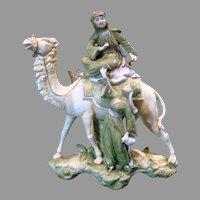 German Porcelain Figural Group Camel w Bedouin & Lady Vase c 1890