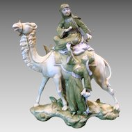 German Porcelain Figural Group Camel w Bedouin & Lady Vase c 1890