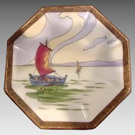 Japanese Nippon Tea Trivet Hand Painted Sailboat Scene c 1911