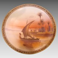 "Japanese Nippon Wall Hanging Plaque 10 ¼"" Hand Painted Red Sunset Egyptian Sailboat Scene c 1911"